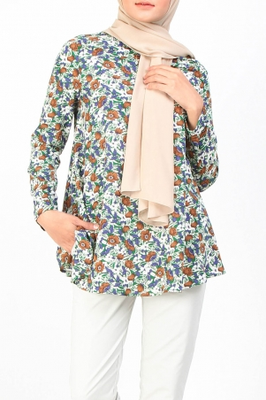 Merai Flared High Neck Blouse - Green Brown Flower