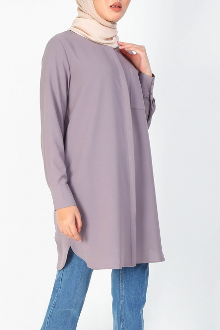 Suhayla Front Button Tunic - Elder Berry