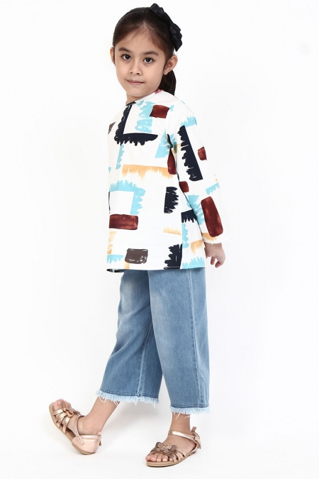KIDS Cara Flared Blouse - Light Blue Brush Paint