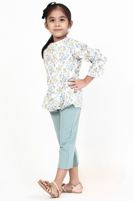 KIDS Cara Flared Blouse - White/Blue Drawing