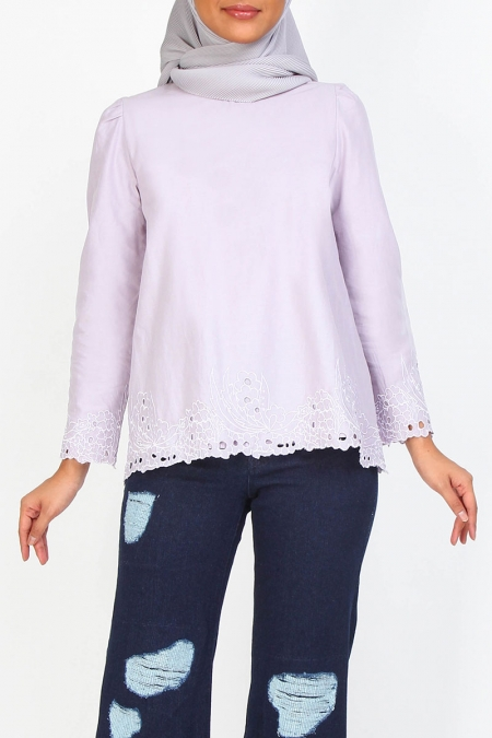 Constana Flared Eyelet Lace Blouse - Lilac
