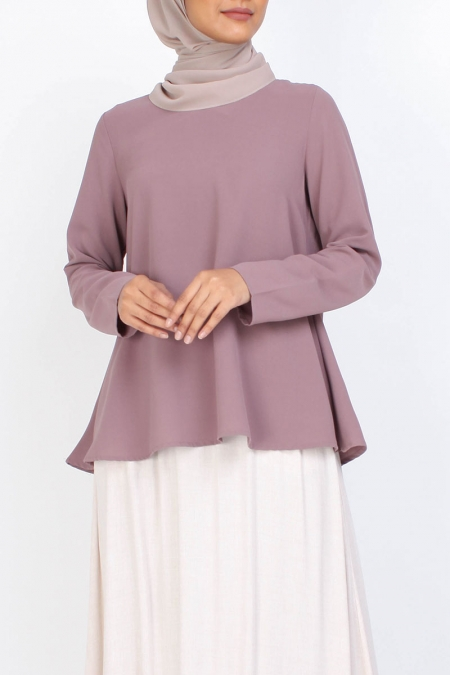 Jenifer V-Neck Flare Blouse - Rose Taupe