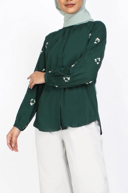 Zahka Front Button Blouse - Dark Green