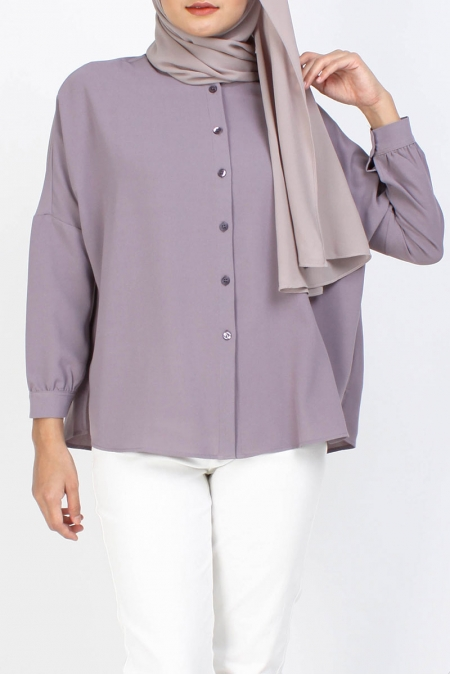 Taygen Front Button Blouse - Elder Berry