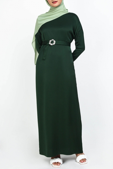 Kessa Drop Shoulder Maxi Dress - Dark Green