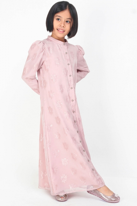 KIDS Lakisha Puff Shoulder Dress - Dusty Pink
