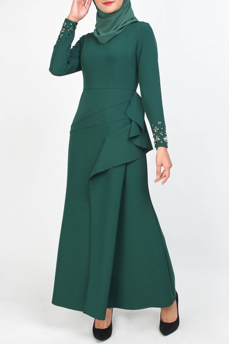 Yolganata Pleated Bodice Maxi Dress - Dark Green