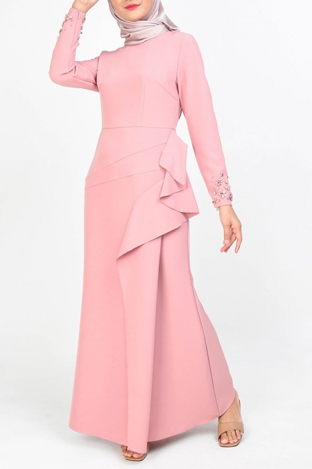 Yolganata Pleated Bodice Maxi Dress - Dusty Pink