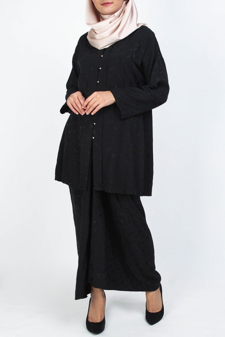 Faydell Blouse & Skirt - Black