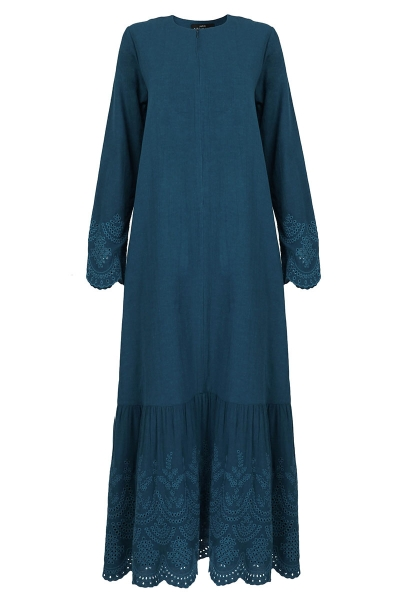 Treszka Gathered Eyelet Hem Dress