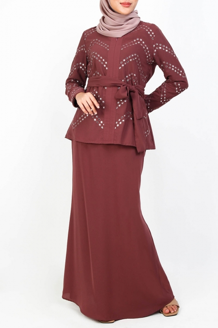 Brissa Blouse & Skirt Set - Dark Mauve