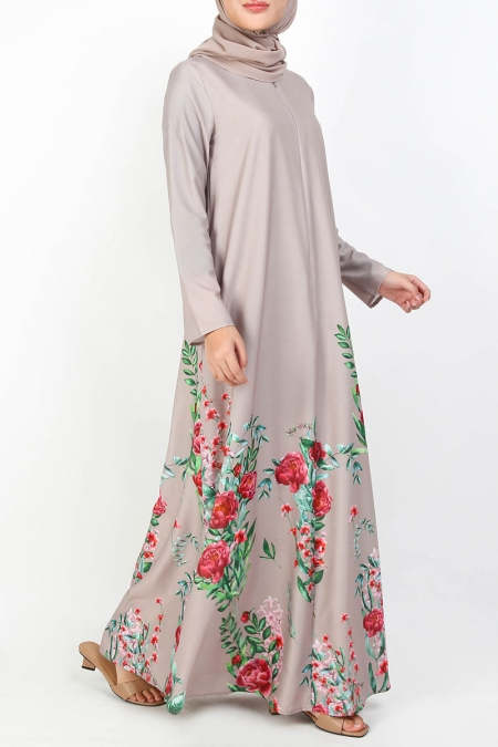 Margaretha A-Line Maxi Dress - Beige Floral