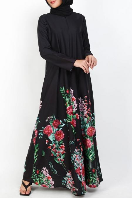 Margaretha A-Line Maxi Dress - Black Floral