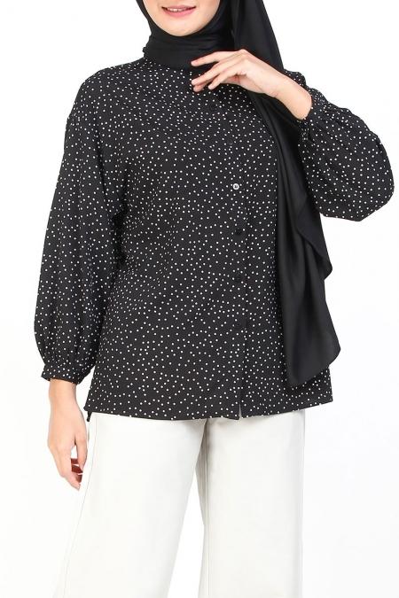 Paulinah Front Button Blouse - Black Polka