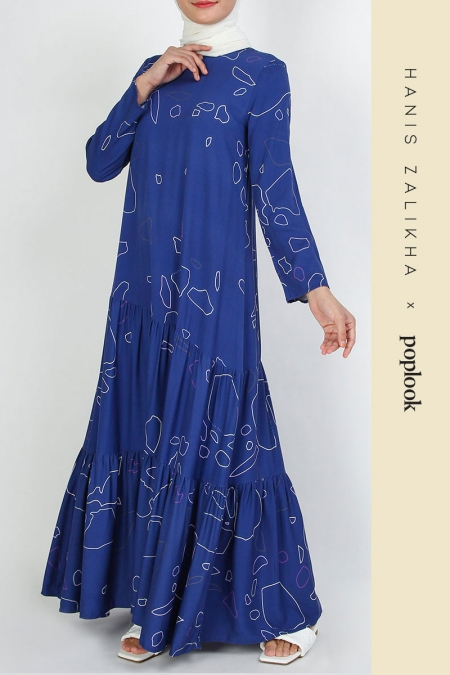 Delinan Gathered Tier Dress - Navy Outline Terazzo