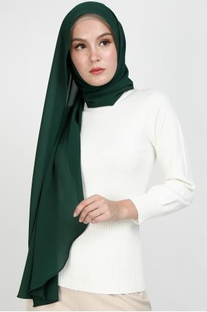 Aida Chiffon Tudung Headscarf - Dark Green